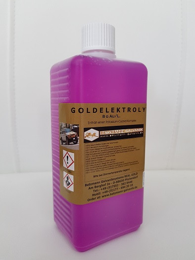 Gold Elektrolyt 8 Gramm/L. Gold