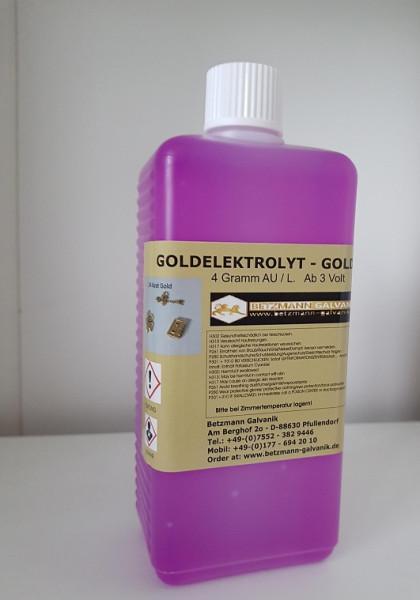 Goldelektrolyt Goldbad 4 Gramm/Liter